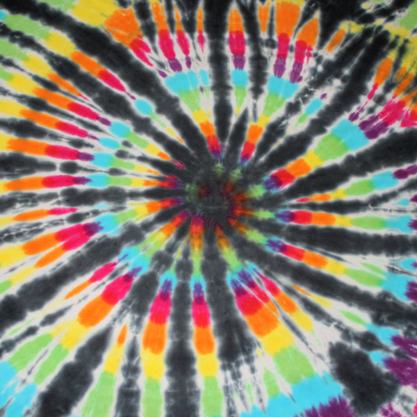 cotton jersey liquid dyed in the black rainbow style
