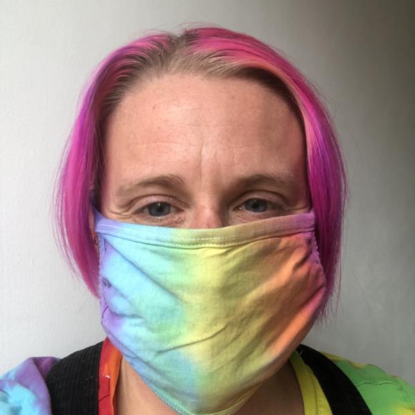 face mask pale rainbow