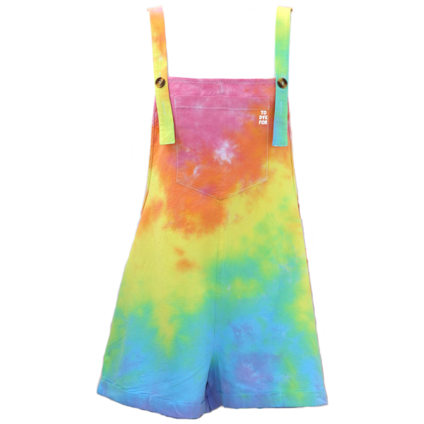 short dungarees in a pale rainbow colourway on a whtie background